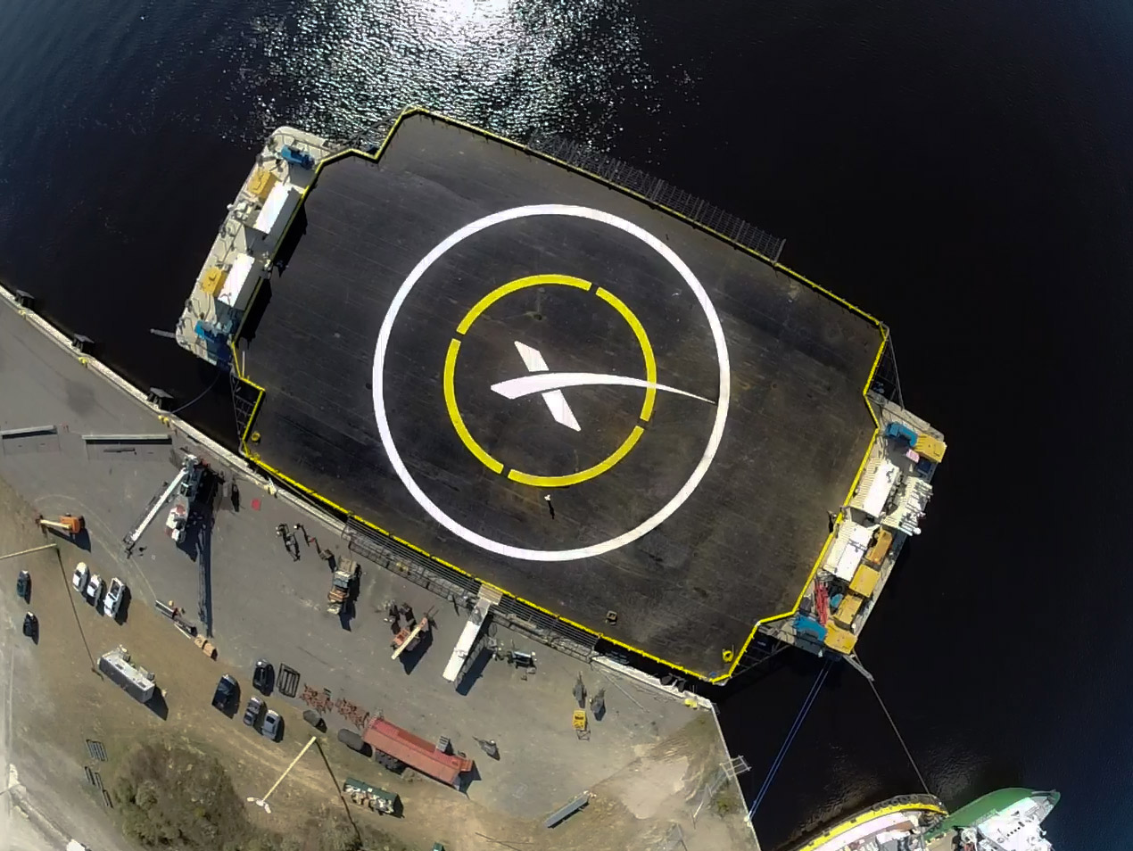 The SpaceX autonomous ocean drone platform Image Credit: SpaceX