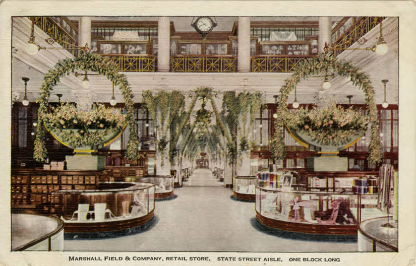 Postcard featuring Marshall Field & Company's State Street Aisle