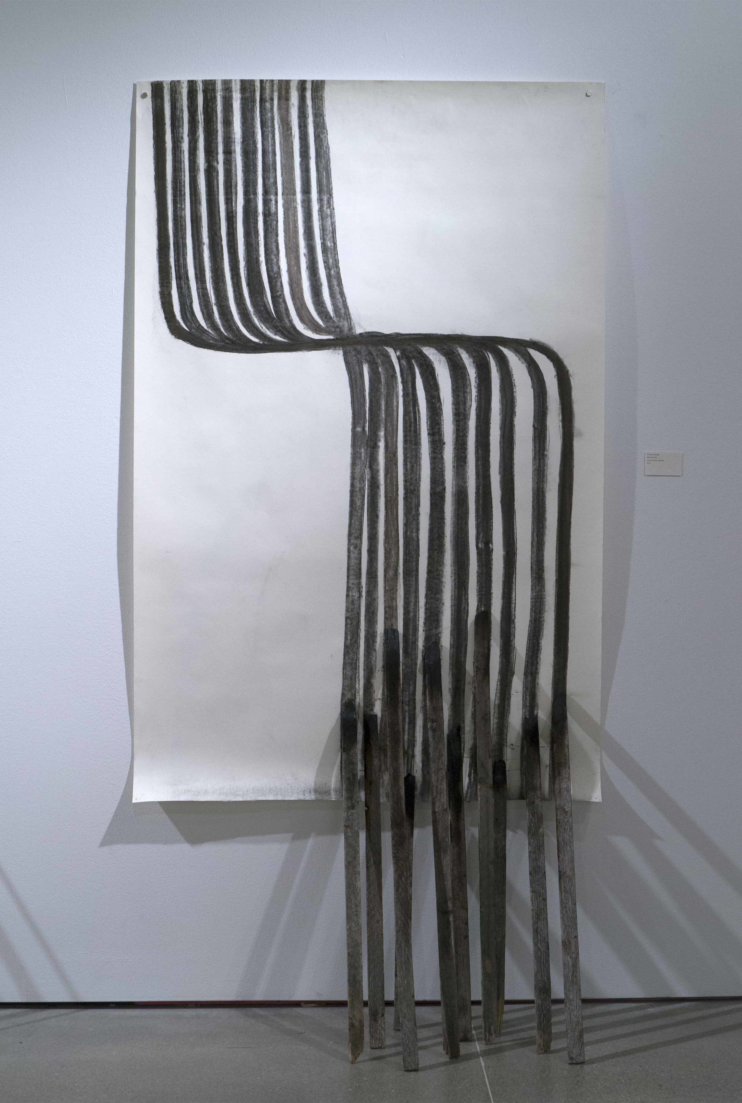 JibJab   2013  erosion fence made into charcoal, paper