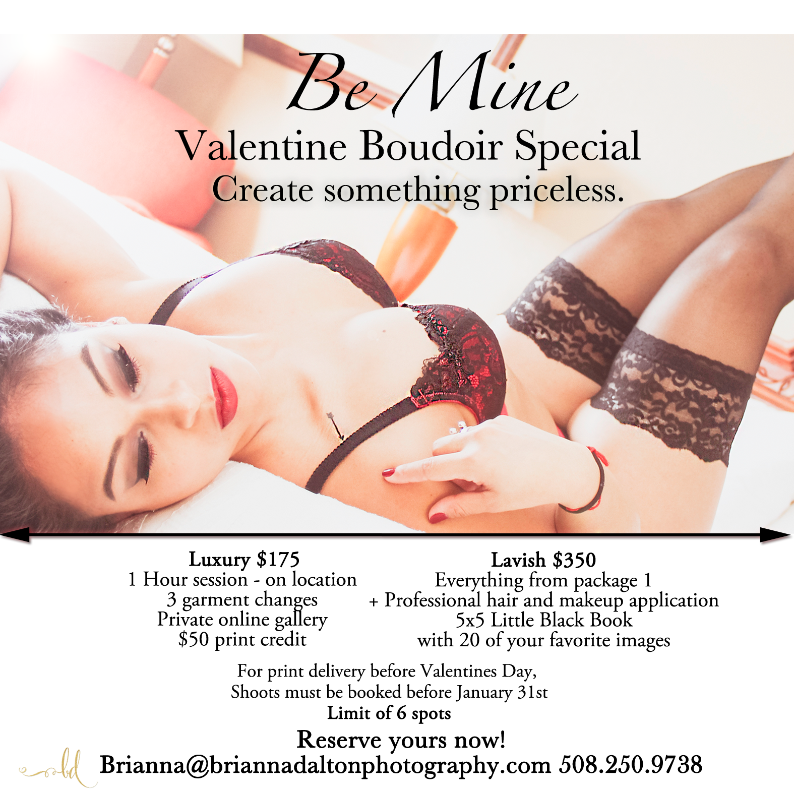 Boudoir Special - Expires February28th  For Valentines Day Delivery, must be booked prior to January 31st 2015