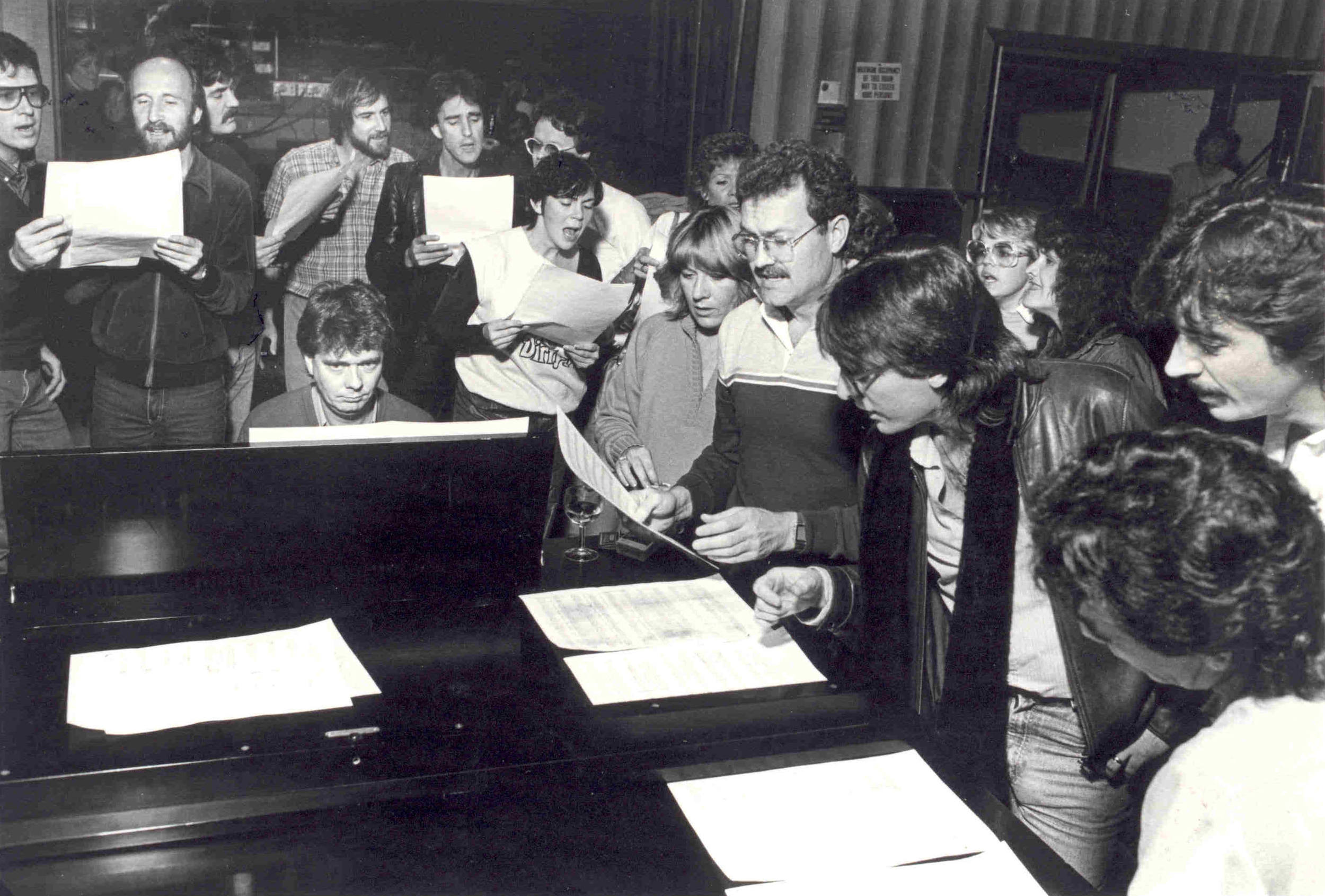 Brian Griffiths works on jingle with gang