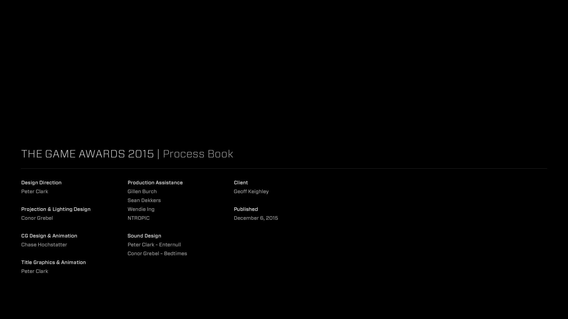 The Game Awards Process Book