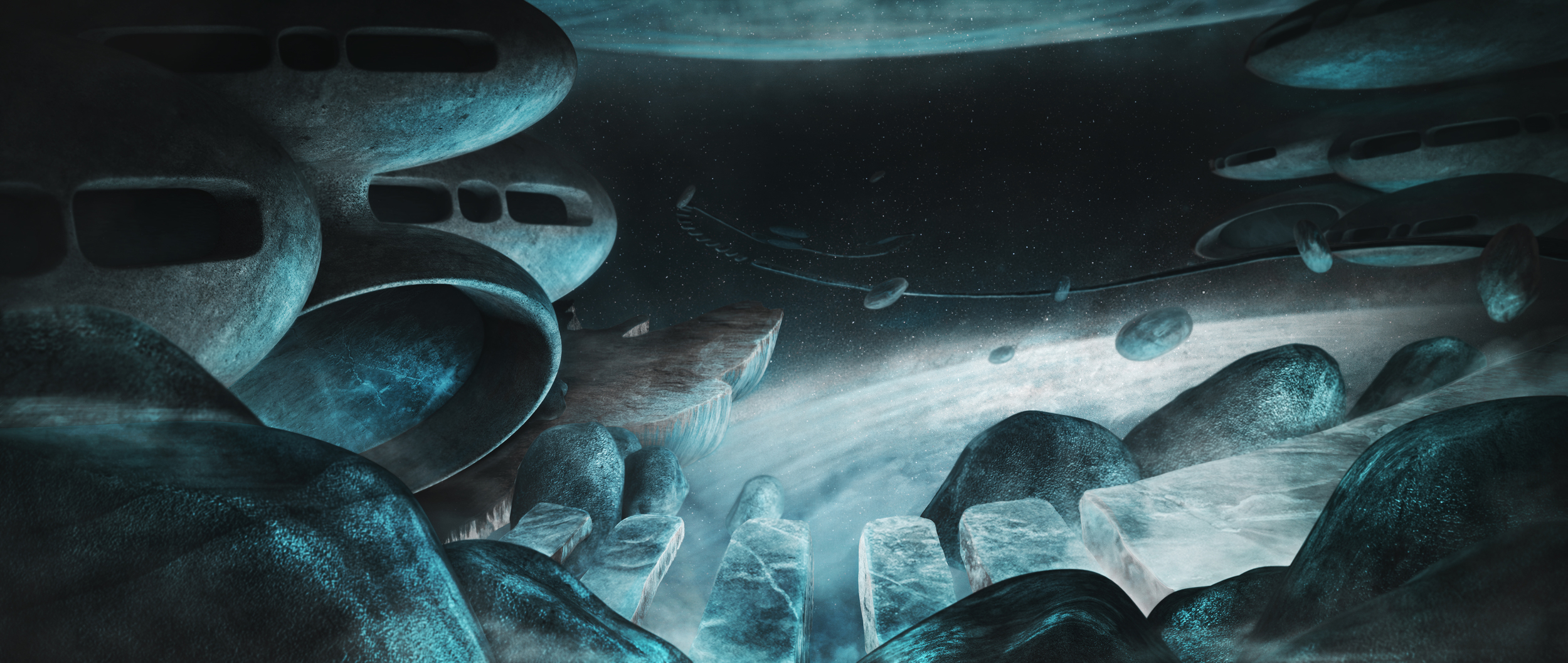 Galactic Drifters Matte Painting by Peter Clark