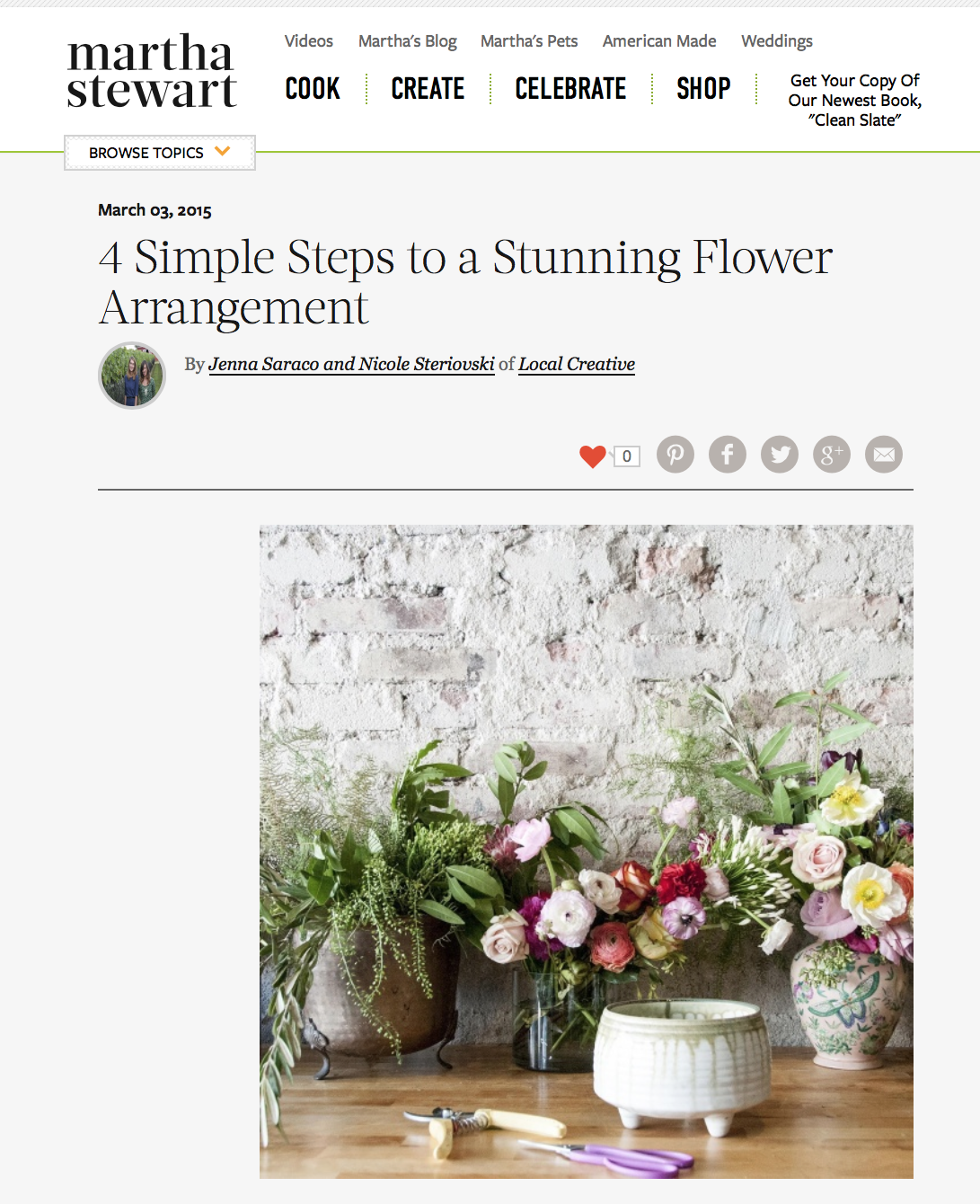 """Martha Stewart, """"4 Simple Steps to a  Stunning Flower Arrangement"""", March 3, 2015"""