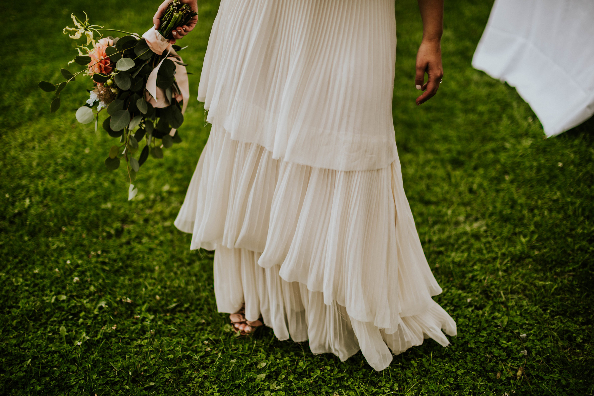 pleated tiered chiffon for Ali, photo by Nato Tuke