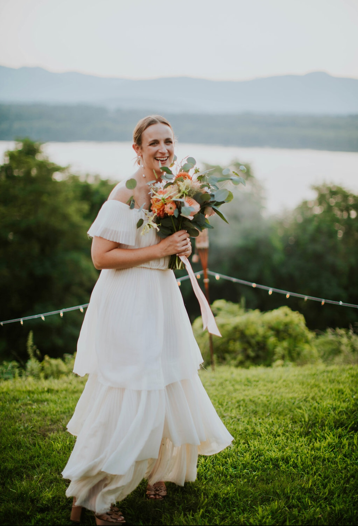 custom pleated chiffon dress / photo by Nato Tuke Weddings