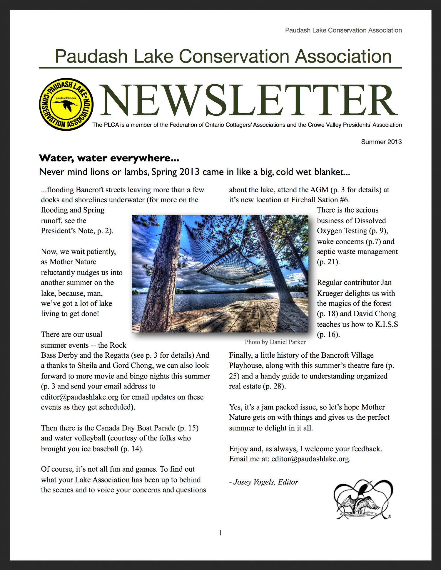 PLCA Newsletter, summer 2013