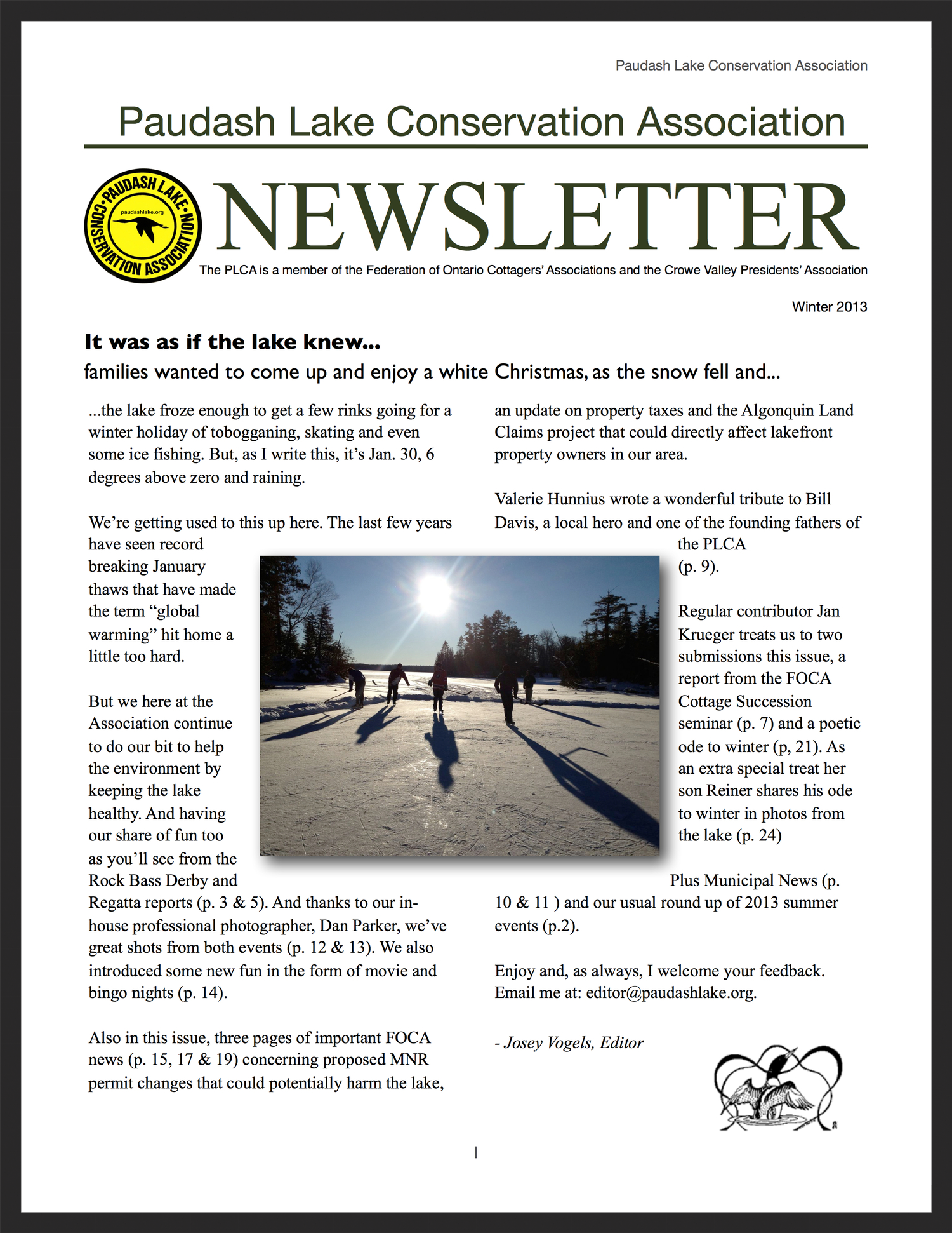 PLCA Newsletter, winter 2013