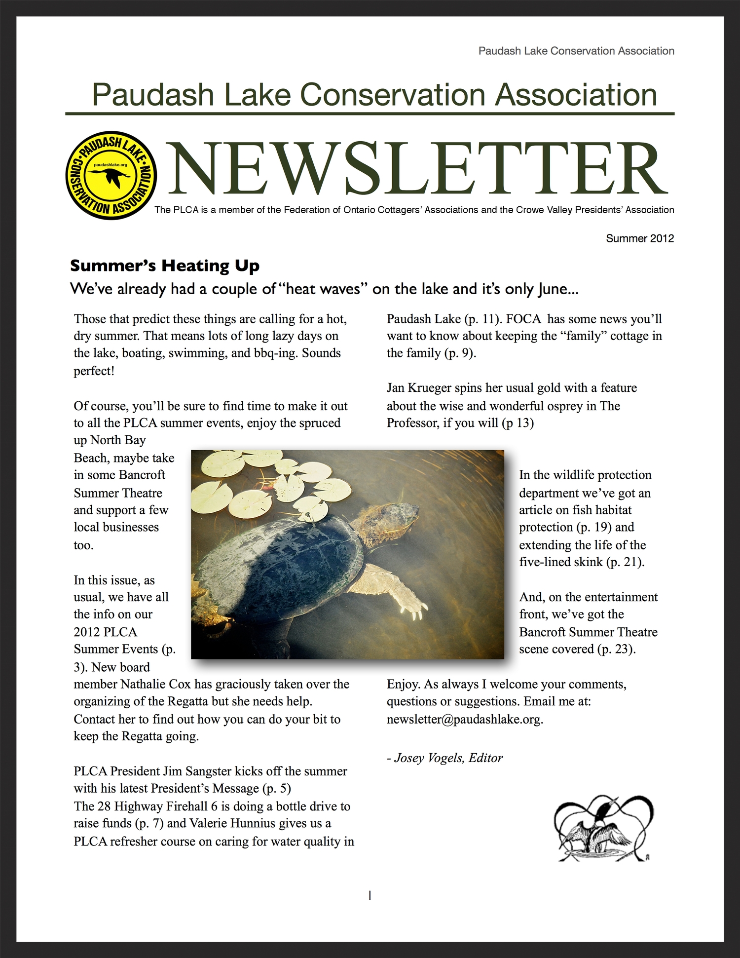 PLCA Newsletter, summer 2012