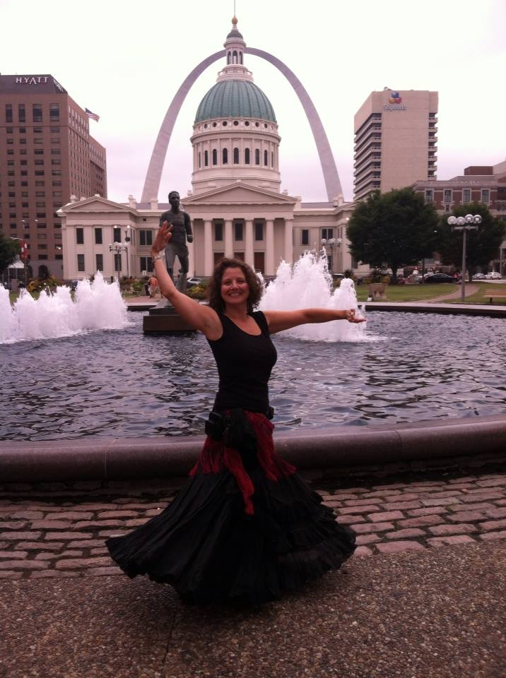 Dancing in front of the St. Louis Gateway Arch.