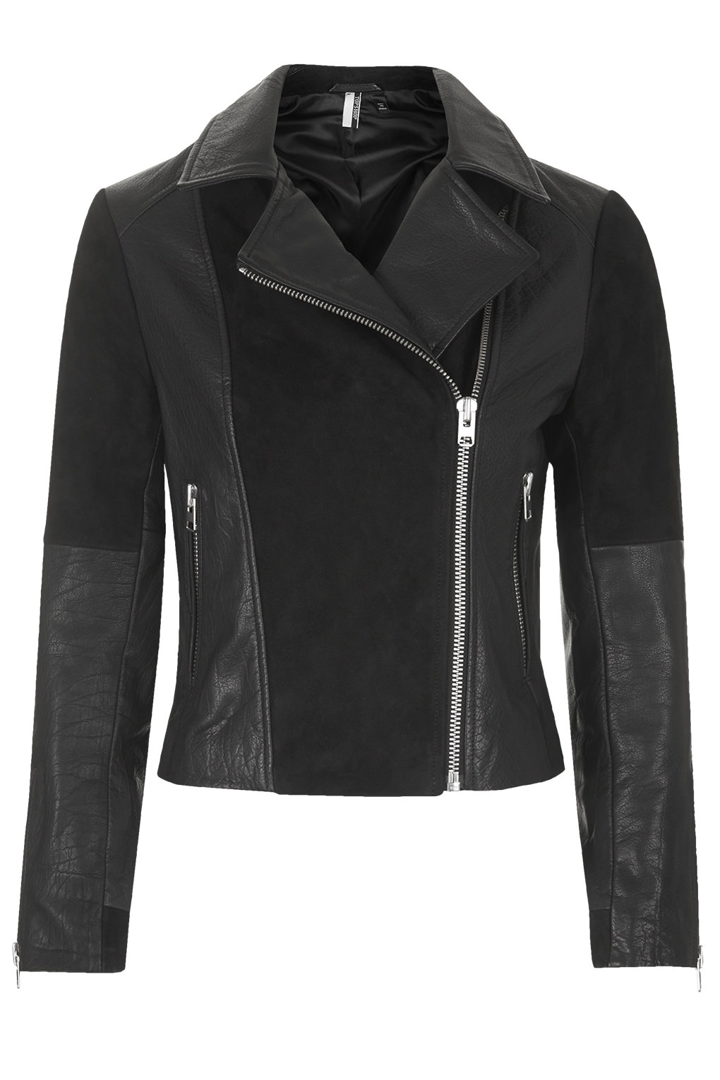 LEATHER AND SUEDE PANEL BIKER JACKET