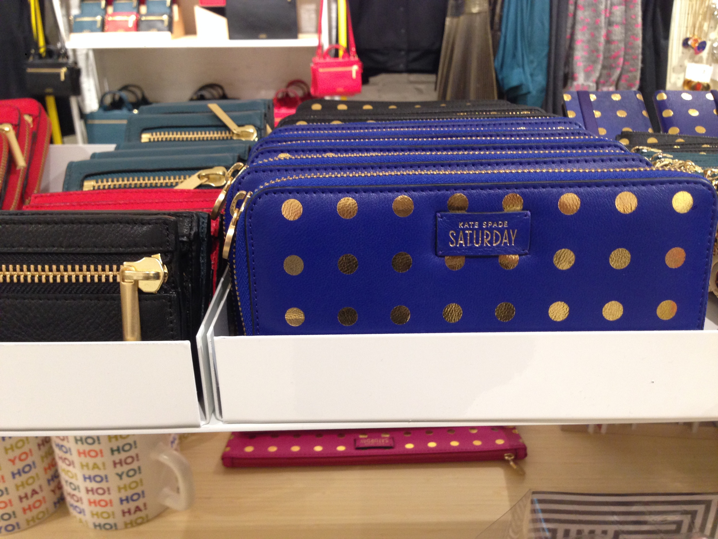Polka dot clutches and wallets...