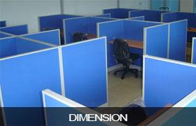 Paneles divisores de 50mm de espesor. Disponibles en tela color azul con molduras de aluminio color gris. Capaces de ser tapizados en tela del color de preferencia del cliente.