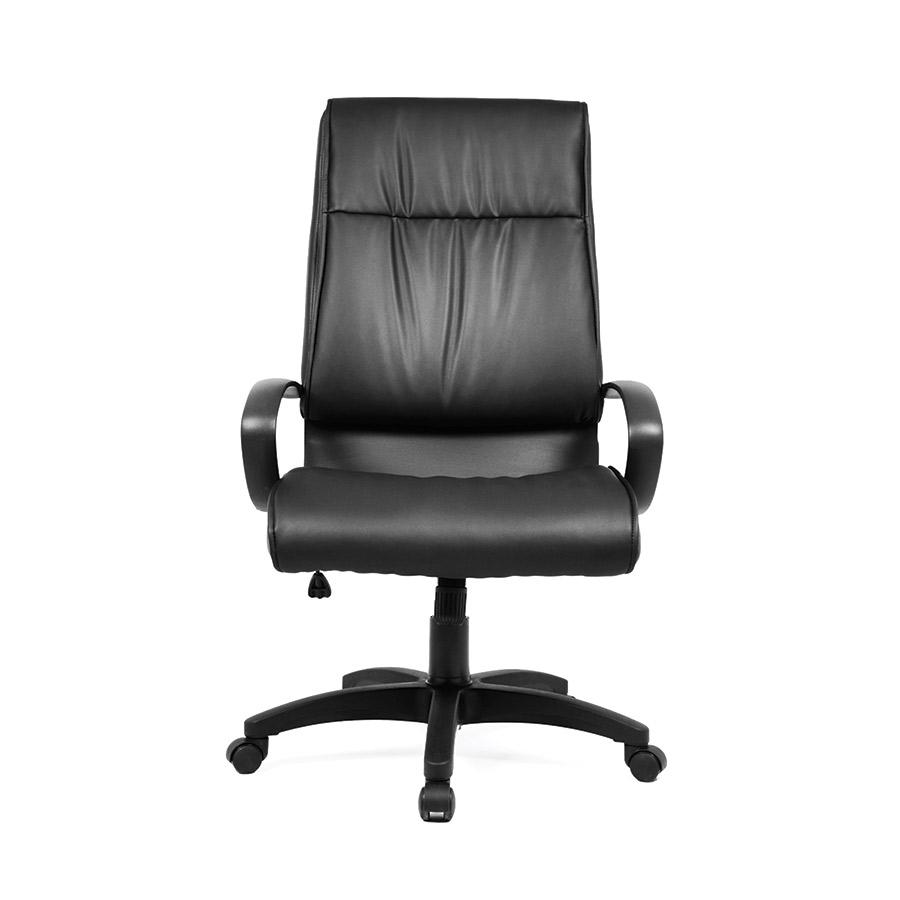SGS23A.NE  Sillón CASCADE reclinable en piel sintética negra. Asiento giratorio de altura ajustable. Base y brazos en nylon reforzado negro.