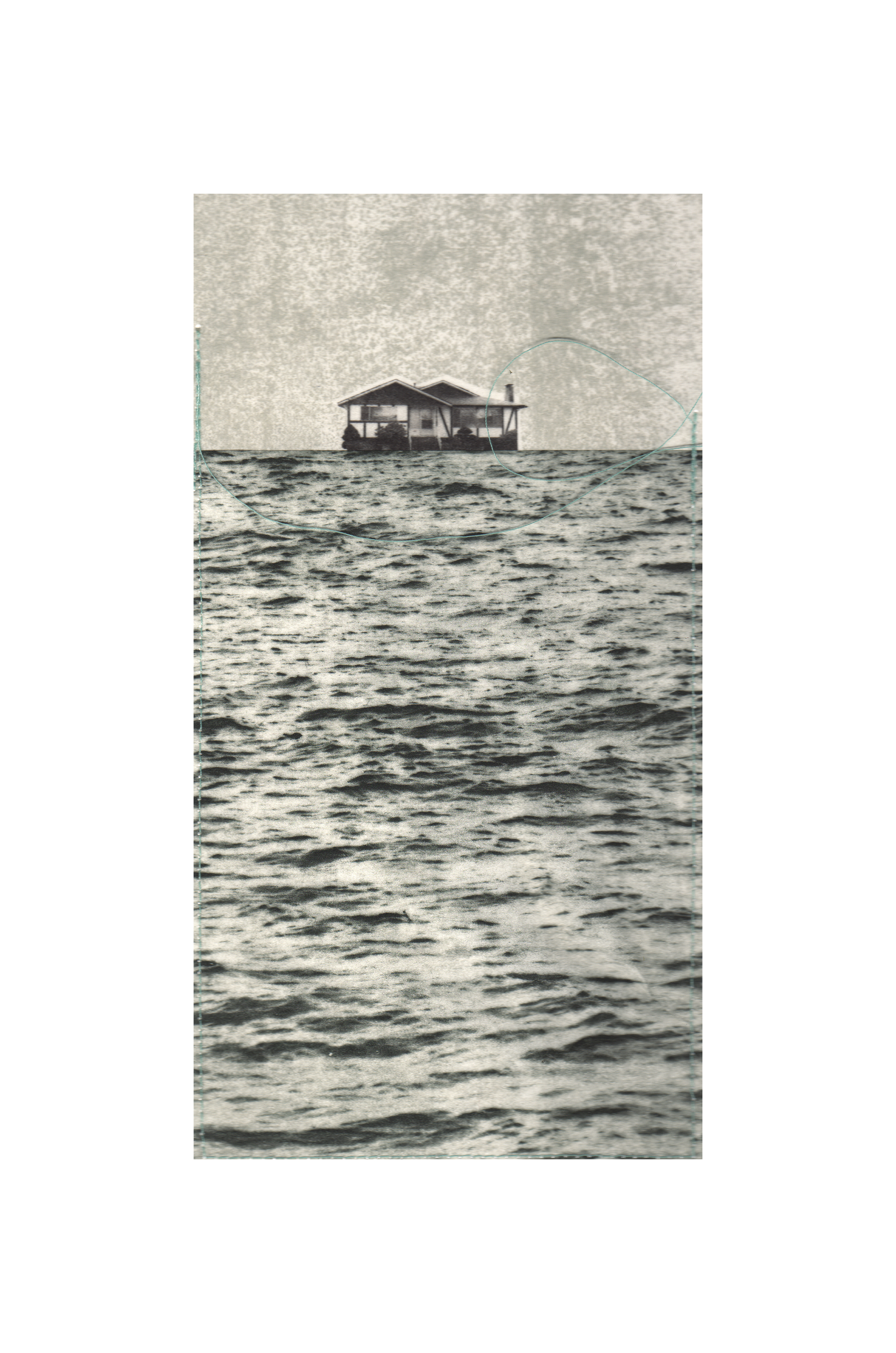 """Tidal Blankets - Northeasternly Winds   Etching, chine colle, thread  15"""" x 11"""", 2010"""