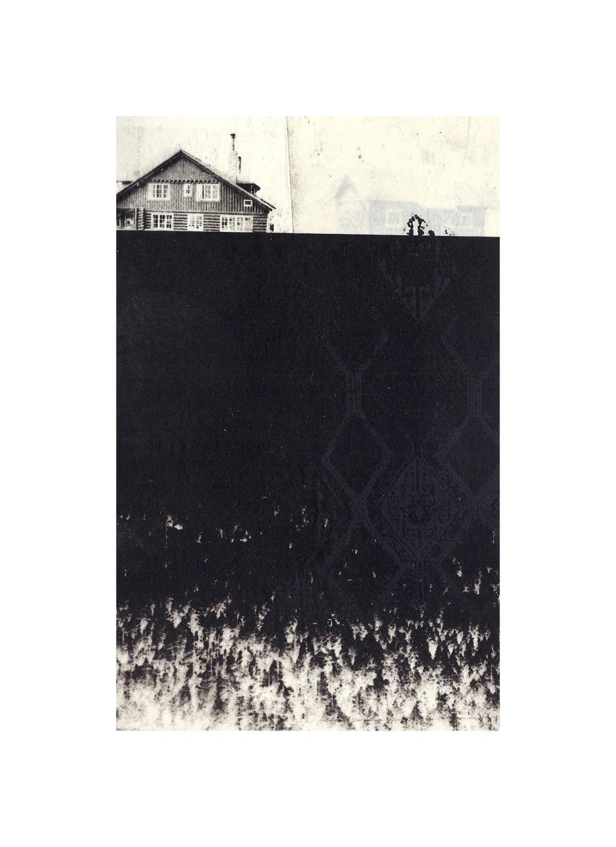 "Fairweather Lodge  Intaglio, screen print, chine colle, thread 15"" x 11"", 2012"