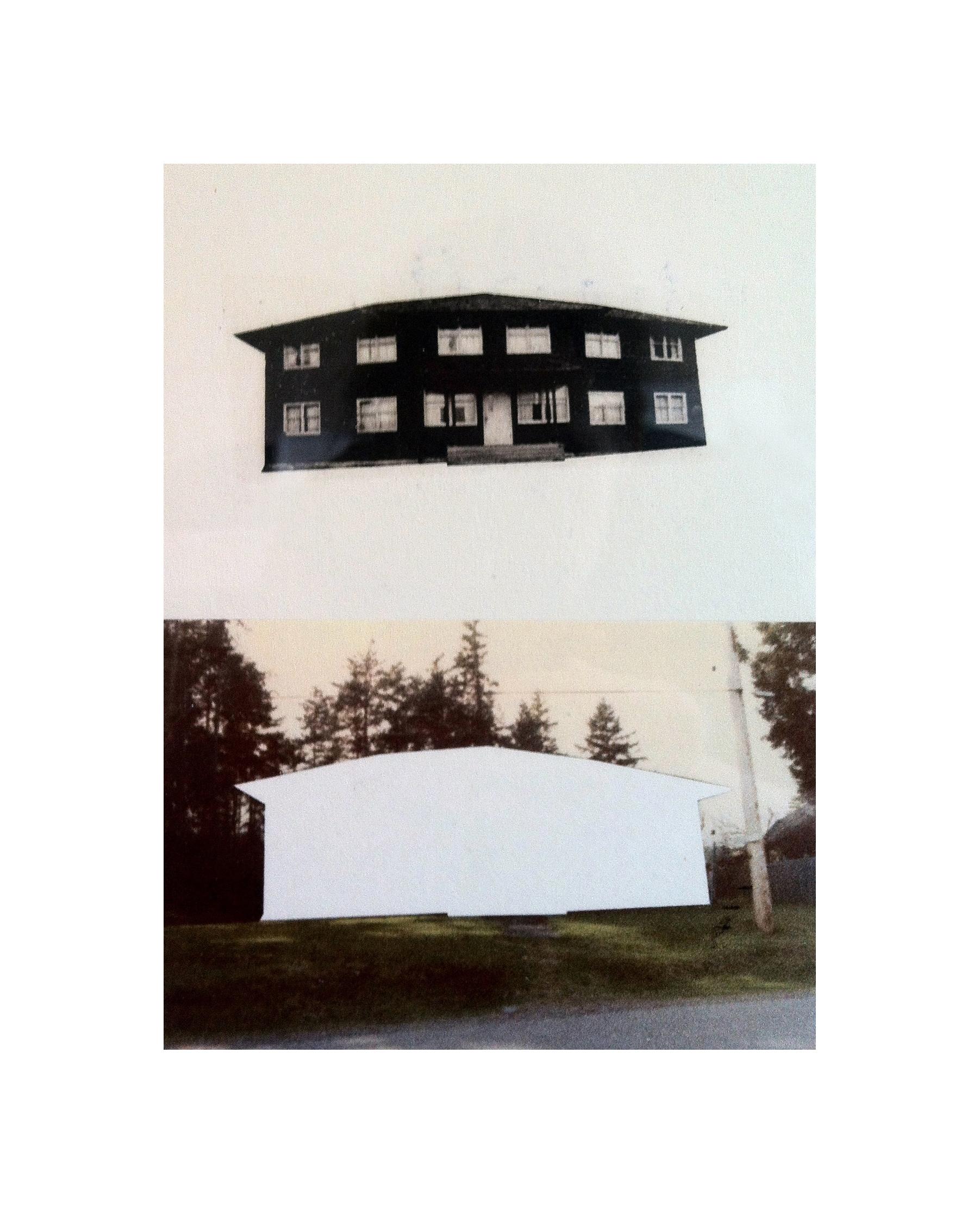 "Cabin Cutouts: Bowen Inn and Union staff dormitory    Intaglio, digital, chine coll  é       15""x11"" 2013"