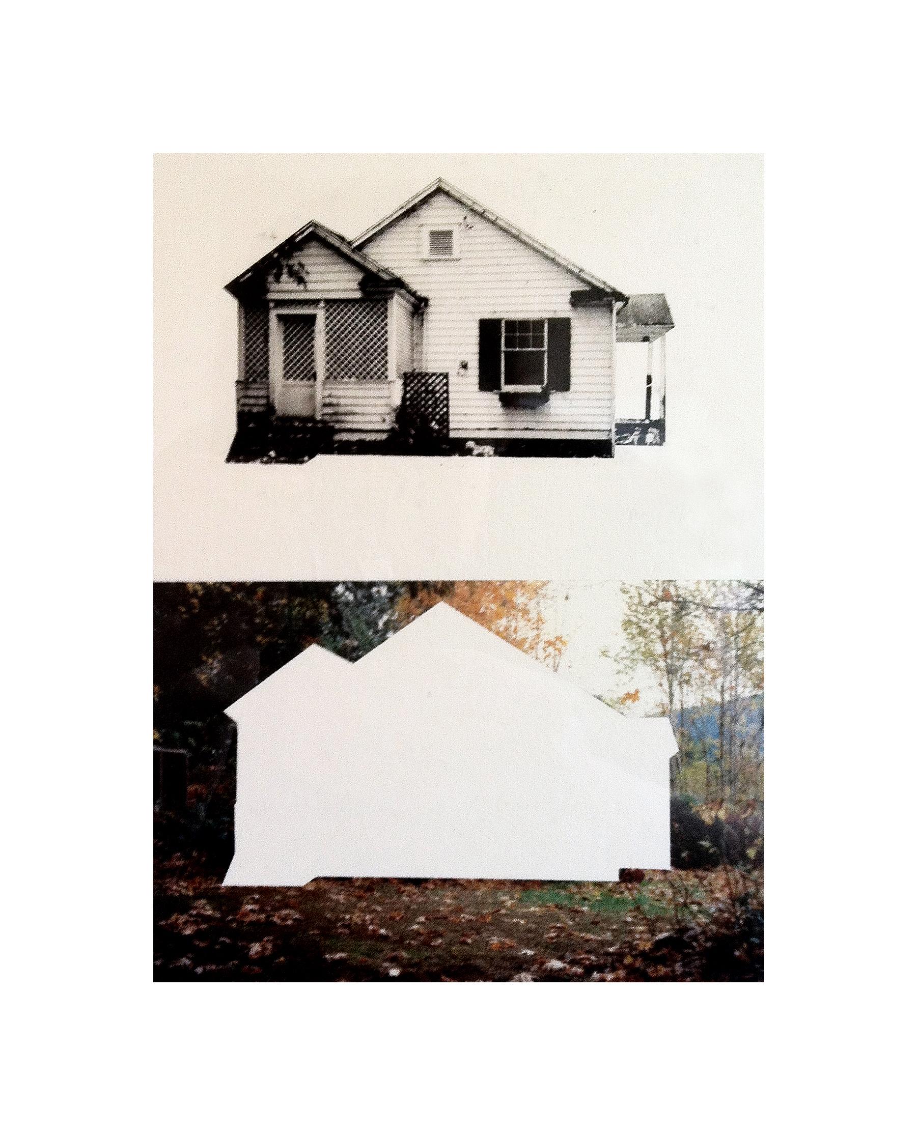"""Cabin Cutouts: Caretaker's cottage in Crippen Park   Intaglio, digital, chine colle  11"""" x 15"""" 2013"""