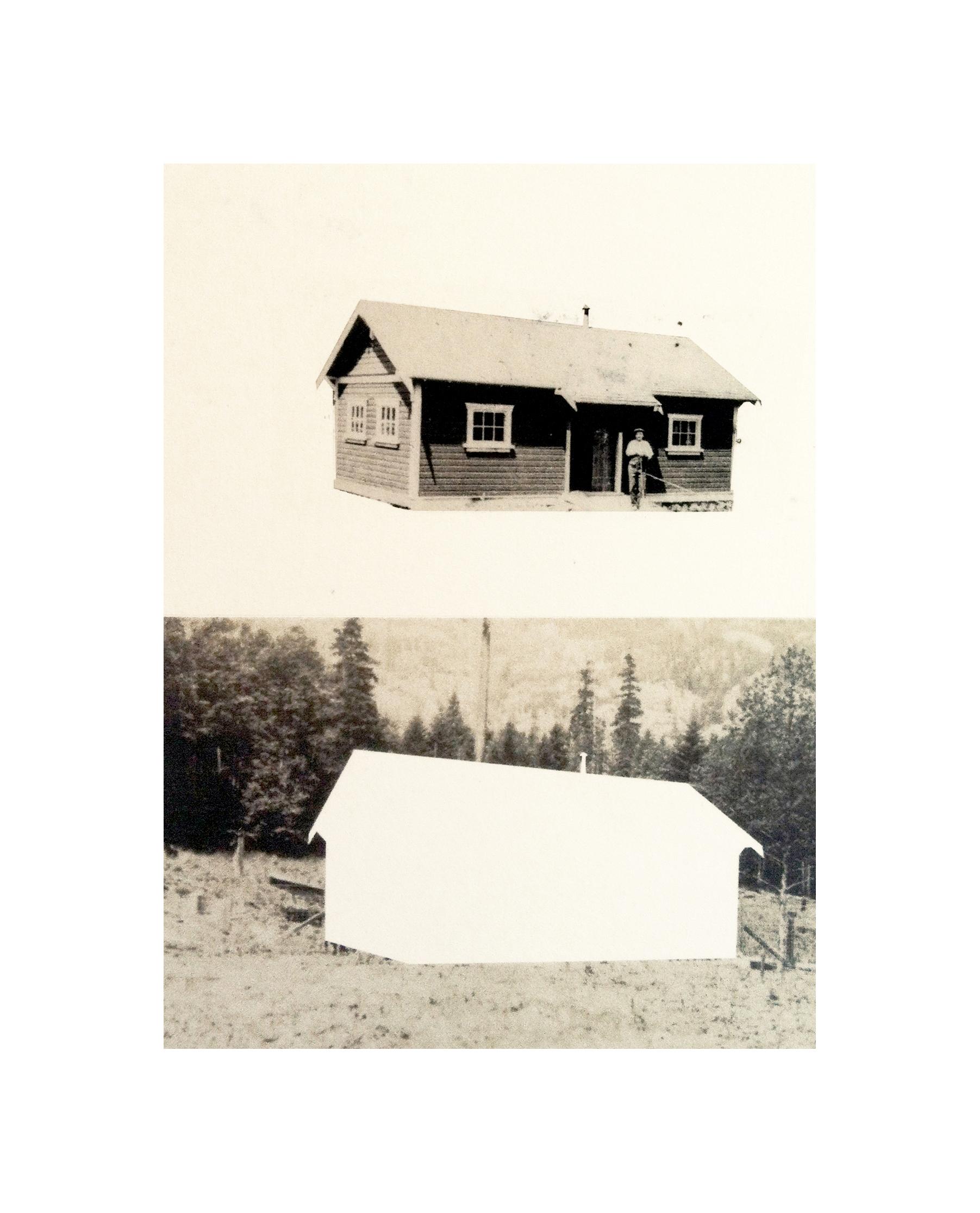 "Cabin Cutouts: Cottage No. 10 in the Orchard     Intaglio, digital, chine coll  é      15""x11"" 2013"