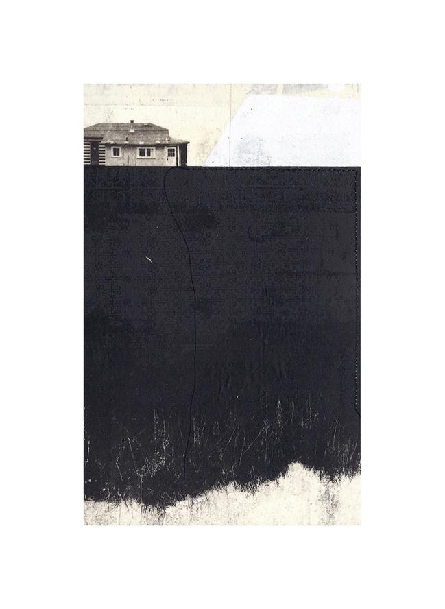"Davies Orchard  Intaglio, screen print, chine colle, thread 15"" x 11"", 2012"