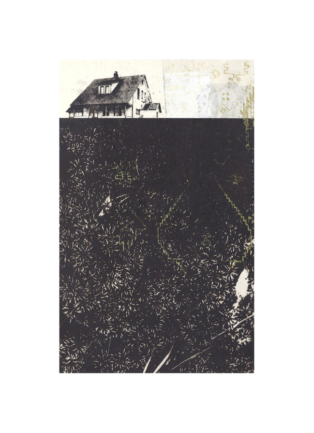 """Collins Farmhouse  Intaglio, screen print, chine colle, thread 15"""" x 11"""", 2012"""