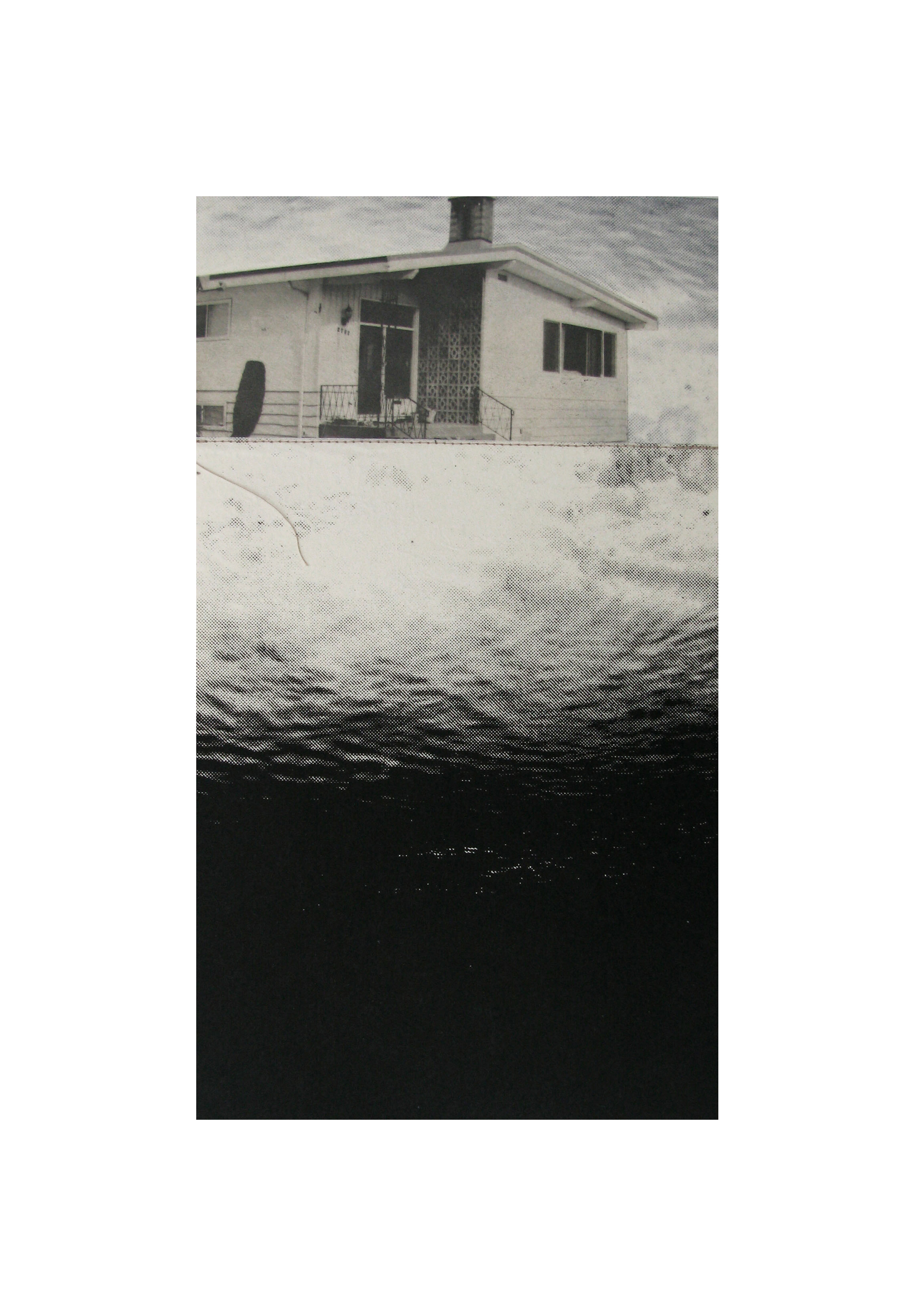 """Eventide Curtain I   Etching, chine colle, thread  20"""" x 15"""", 2010"""