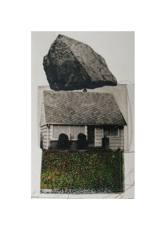 """Nature's Presence V   Etching, chine colle, thread  20"""" x 15"""", 2010"""