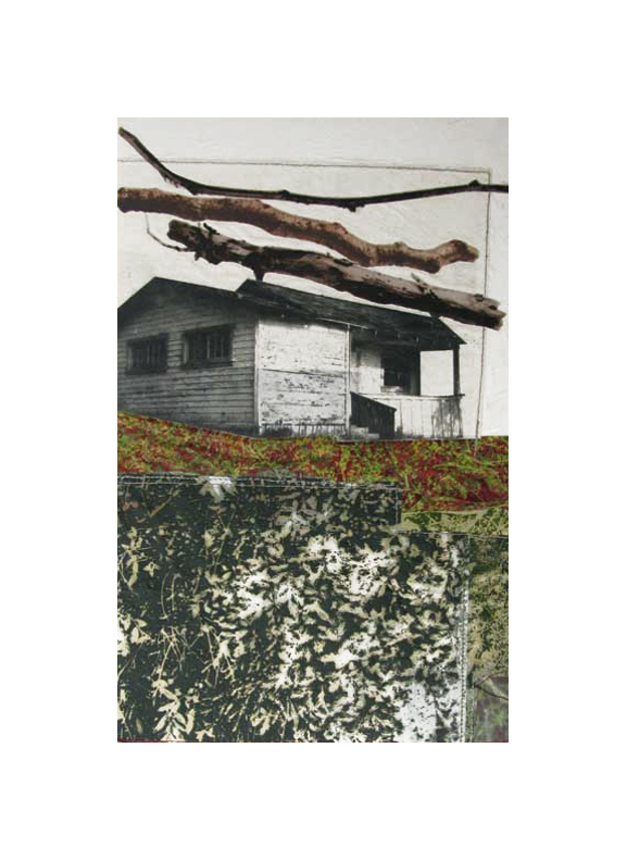"""Nature's Presence III   Etching, chine colle, thread  20"""" x 15"""", 2010"""