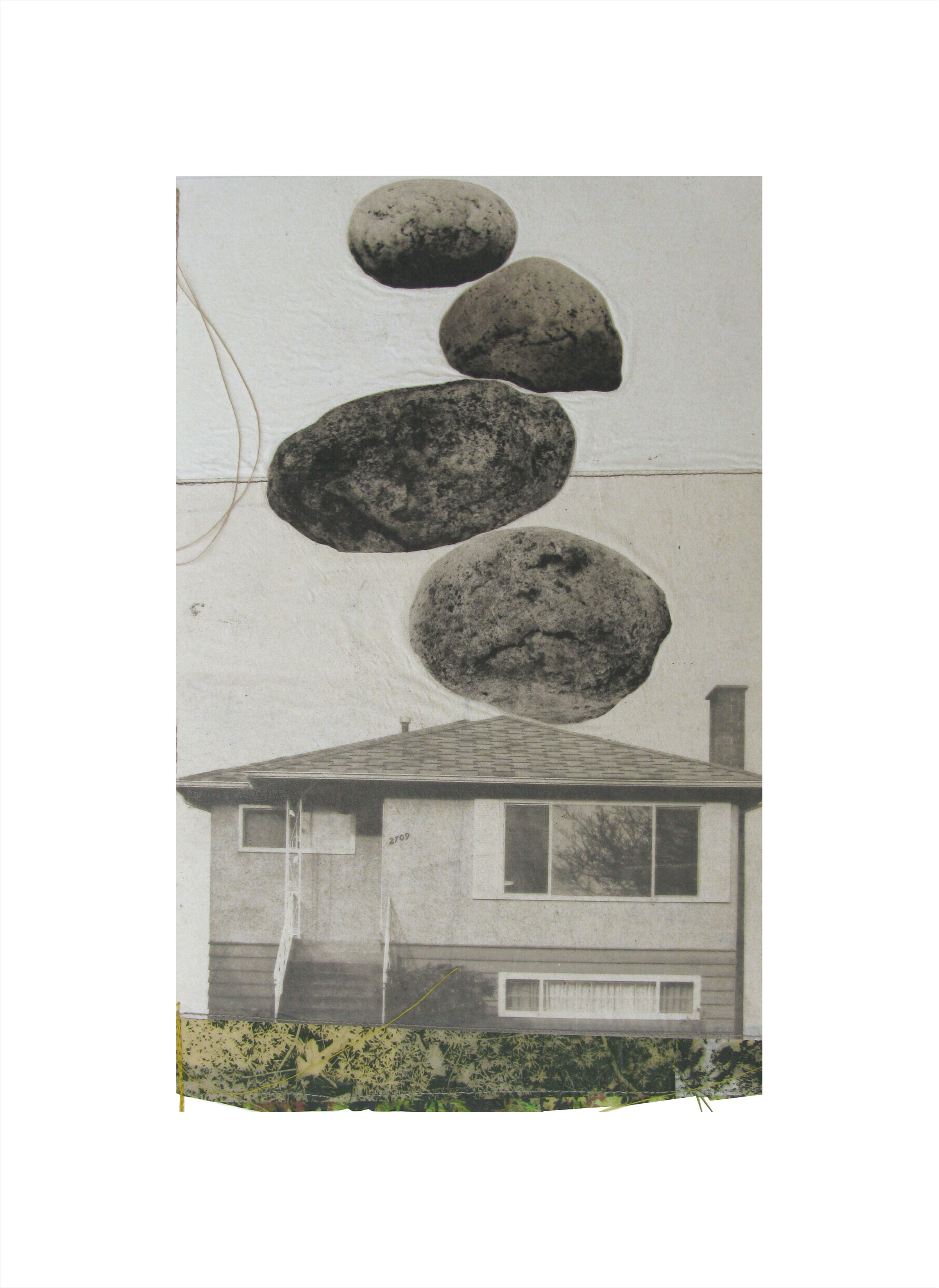 """Nature's Presence I   Etching, chine colle, thread  20"""" x 15"""", 2010"""