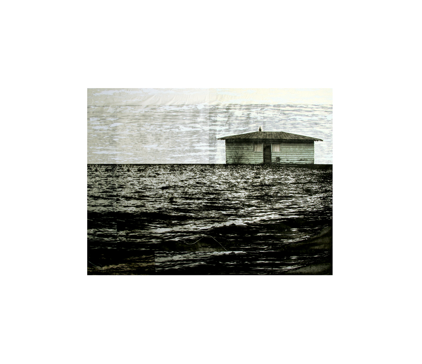 "Number two in Ella Bay   Etching, silkscreen, thread  31"" x 37"", 2008"