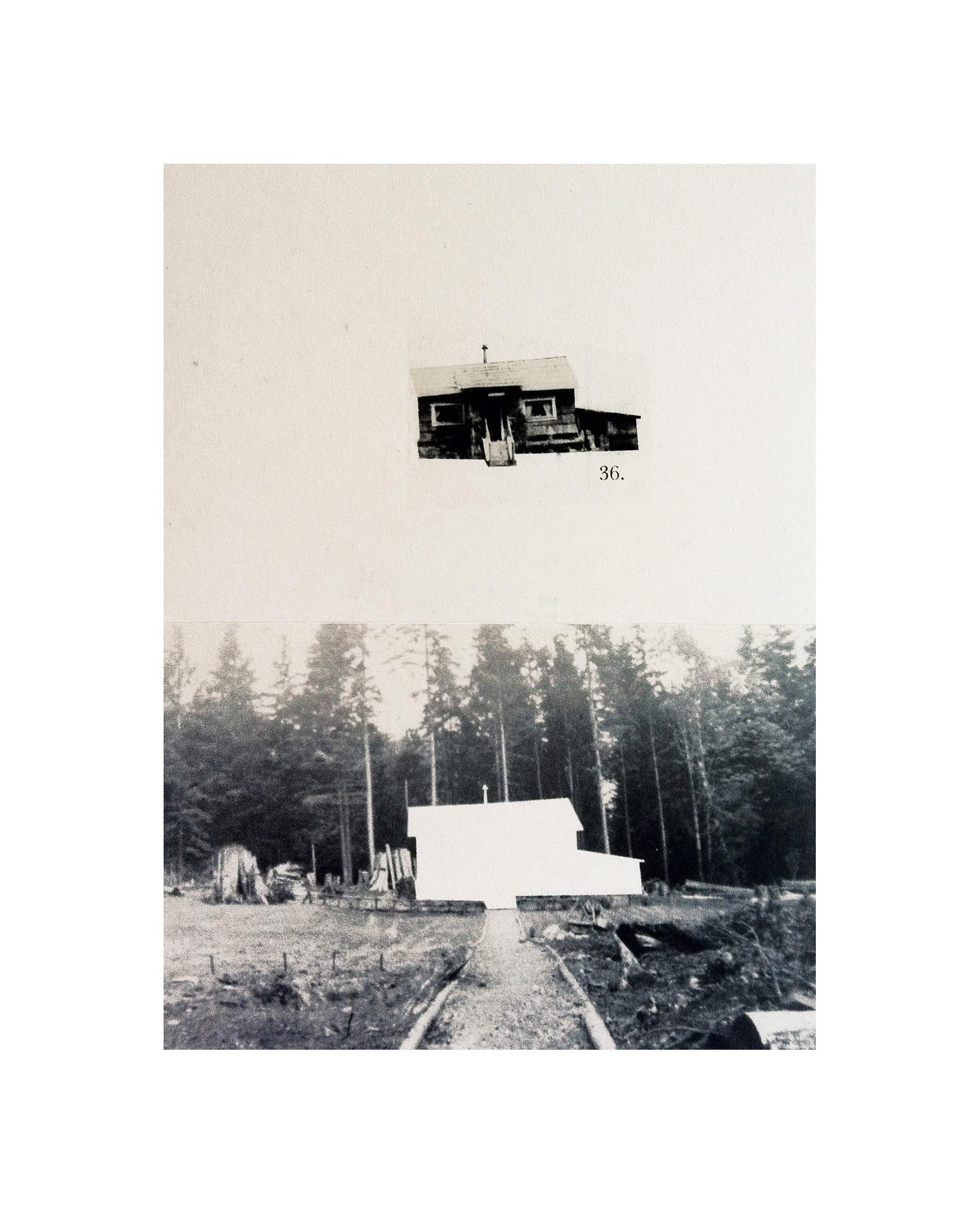 "Cabin Cutouts: Mayell Cottage on Grafton Rd    Intaglio, digital, chine coll  é      15""x11"" 2013"