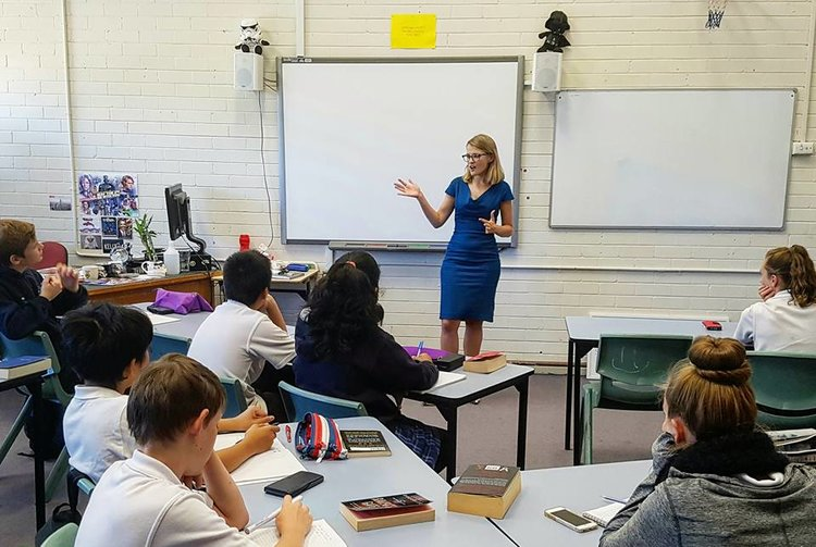 Speaking to students at Melrose High School, Canberra