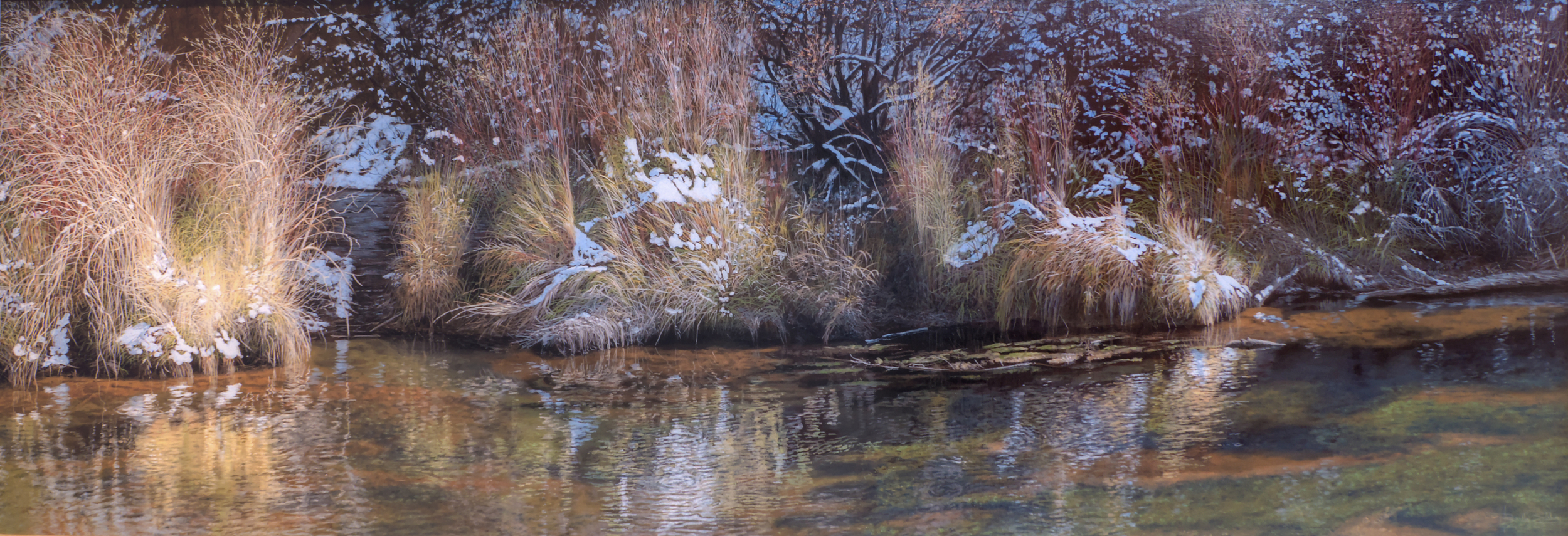 "Fascinatin Rhythms   Along the Frying Pan River. original Acrylic painting 24"" by 72""  This is a new painting just finished for this show. It shows an early November snowfall melting in the warmth of the sun. This is a quiet stretch of the upper Frying Pan River below Aspen CO."