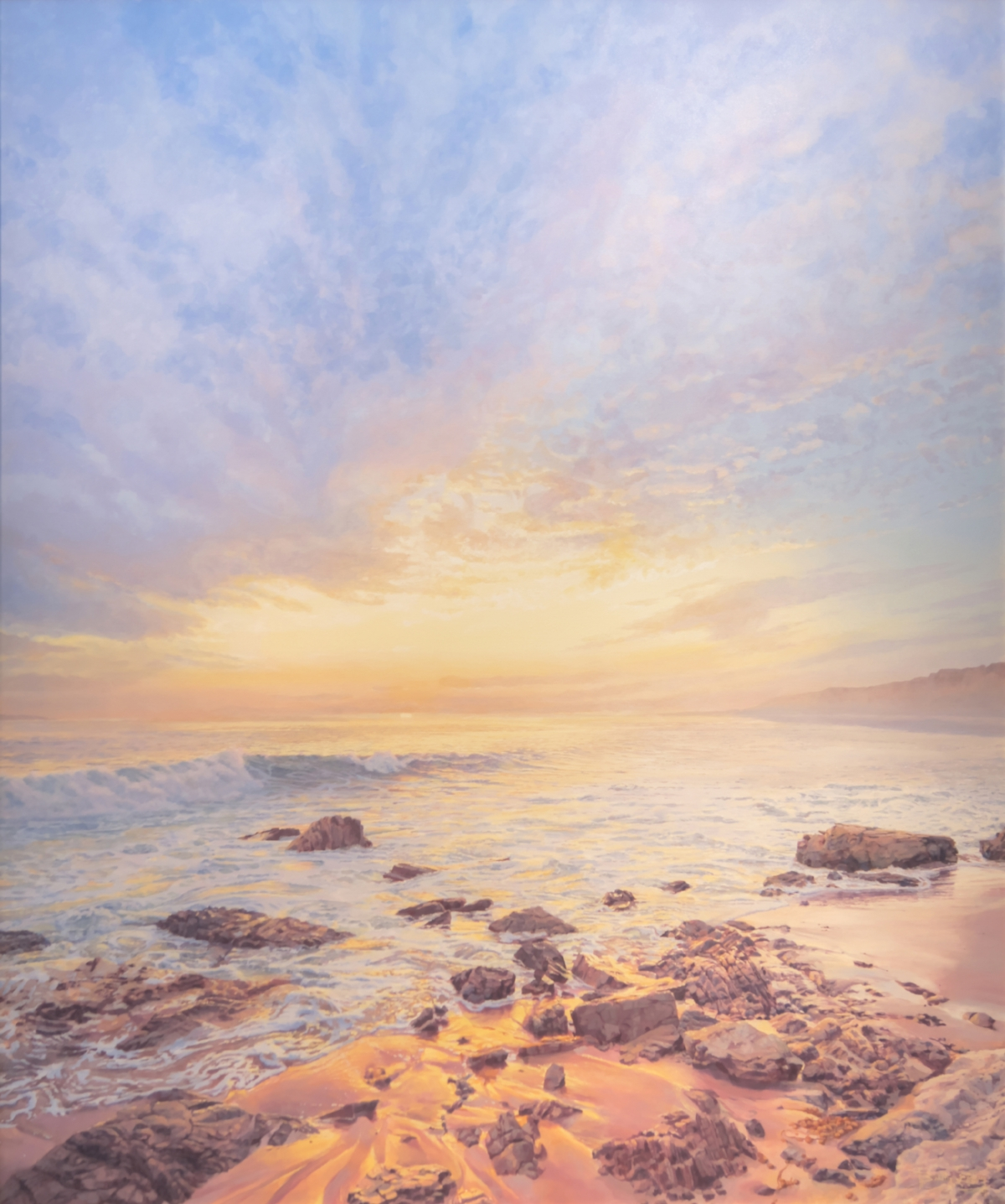 A warm humid Sunset in Crystal Cove State Park CA. Here I am standing in the splash zone looking up the beach through the haze of the salt spray of the surf. I was soaking wet but who cares when our water was 76 degrees. The painting resulting from my visit is my signature piece for this summer's Festival and at five by six feet my largest yet in this show.