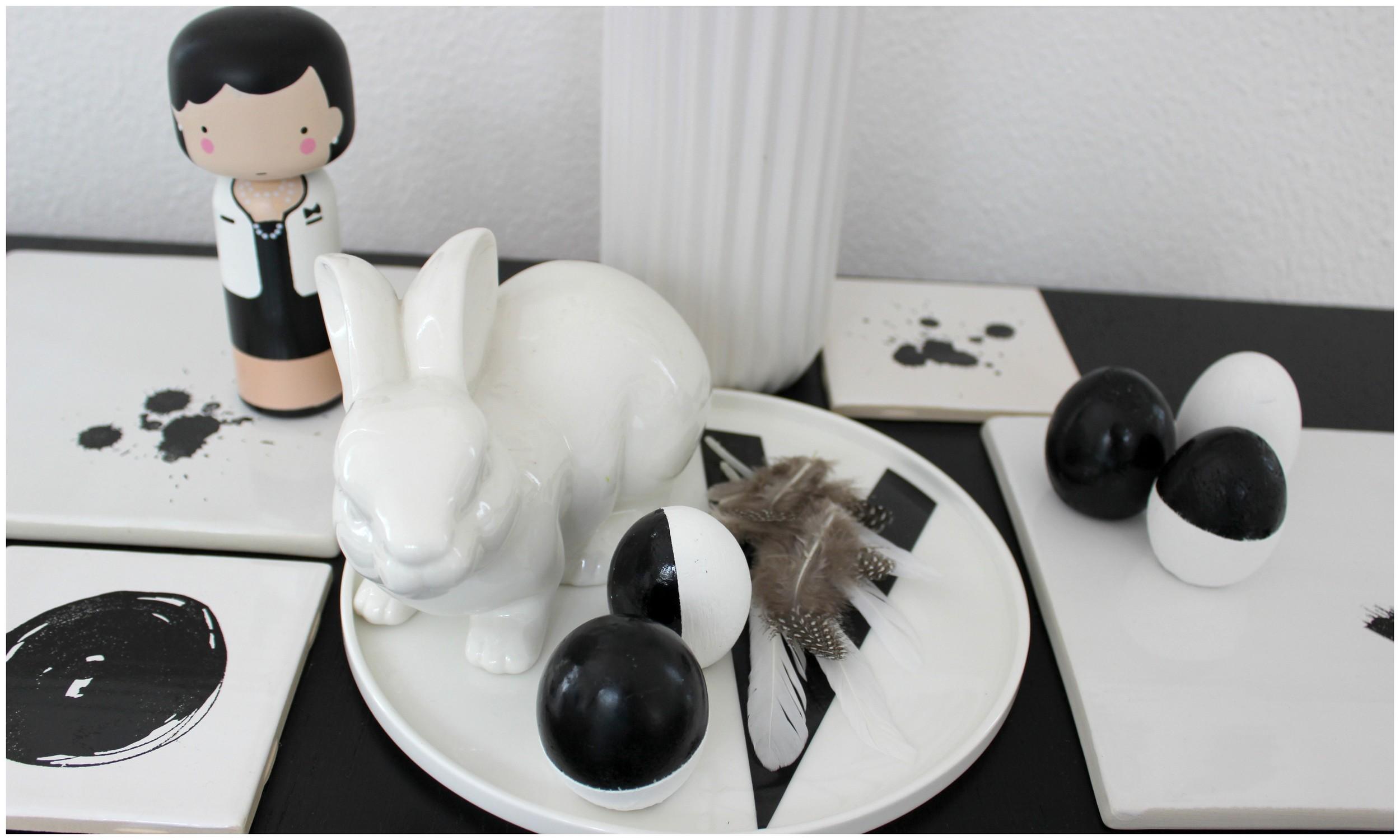 Panenka Coco, talíř s písmenem V, kachličky,peří- Nordic day; Zajíček - Hornbach; Váza - Kik
