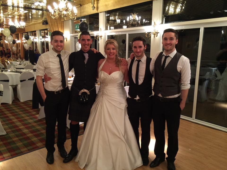 Just a wee message on behalf of my new husband and myself. We would like to thank you guys!!! Everyone was talking about how great you were! Great range of music, something for everyone, lovely guys with it. Thank you from       Mr & Mrs Banks xxxx