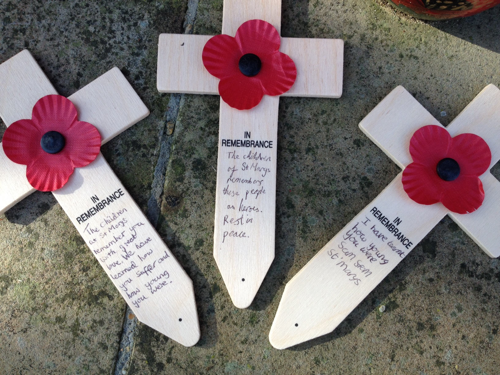 Poppy crosses left by the children from St Mary's