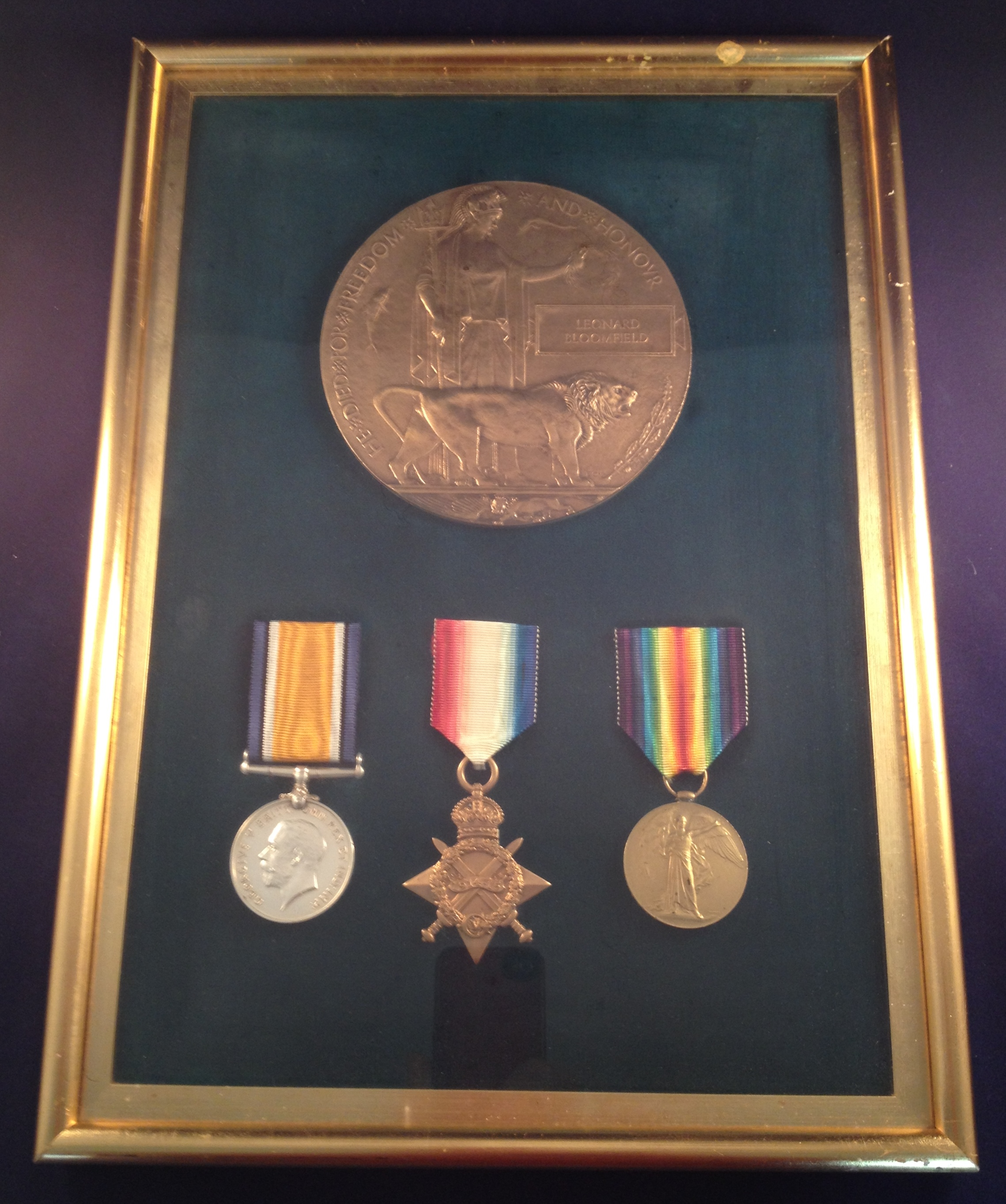 Private Bloomfield's Medals and Memorial Plaque