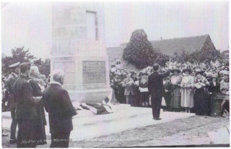 The unveiling ceremony at the Hadleigh War Memorial on 21 June 1921