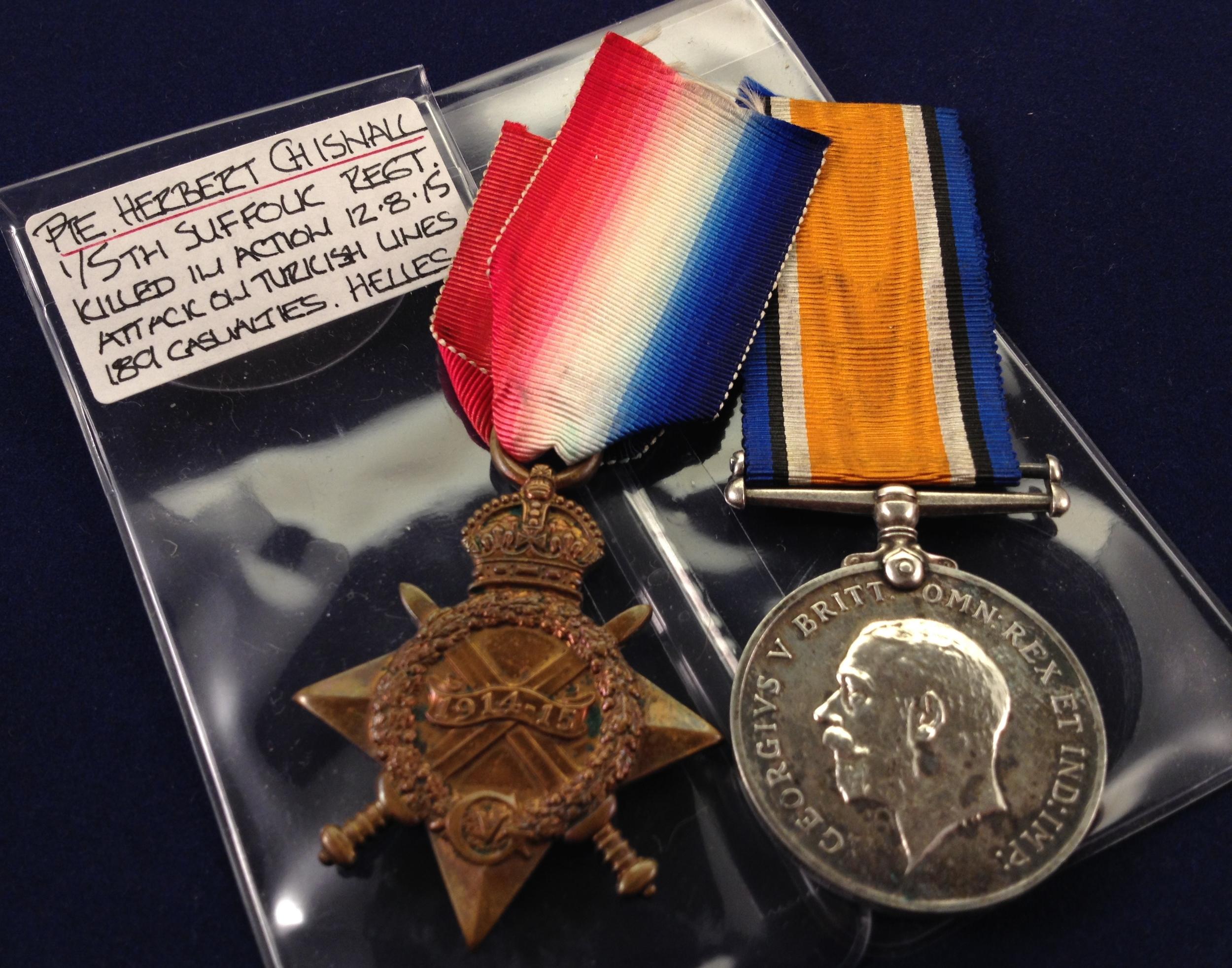 Herbert Chisnall medals in sleeves.JPG