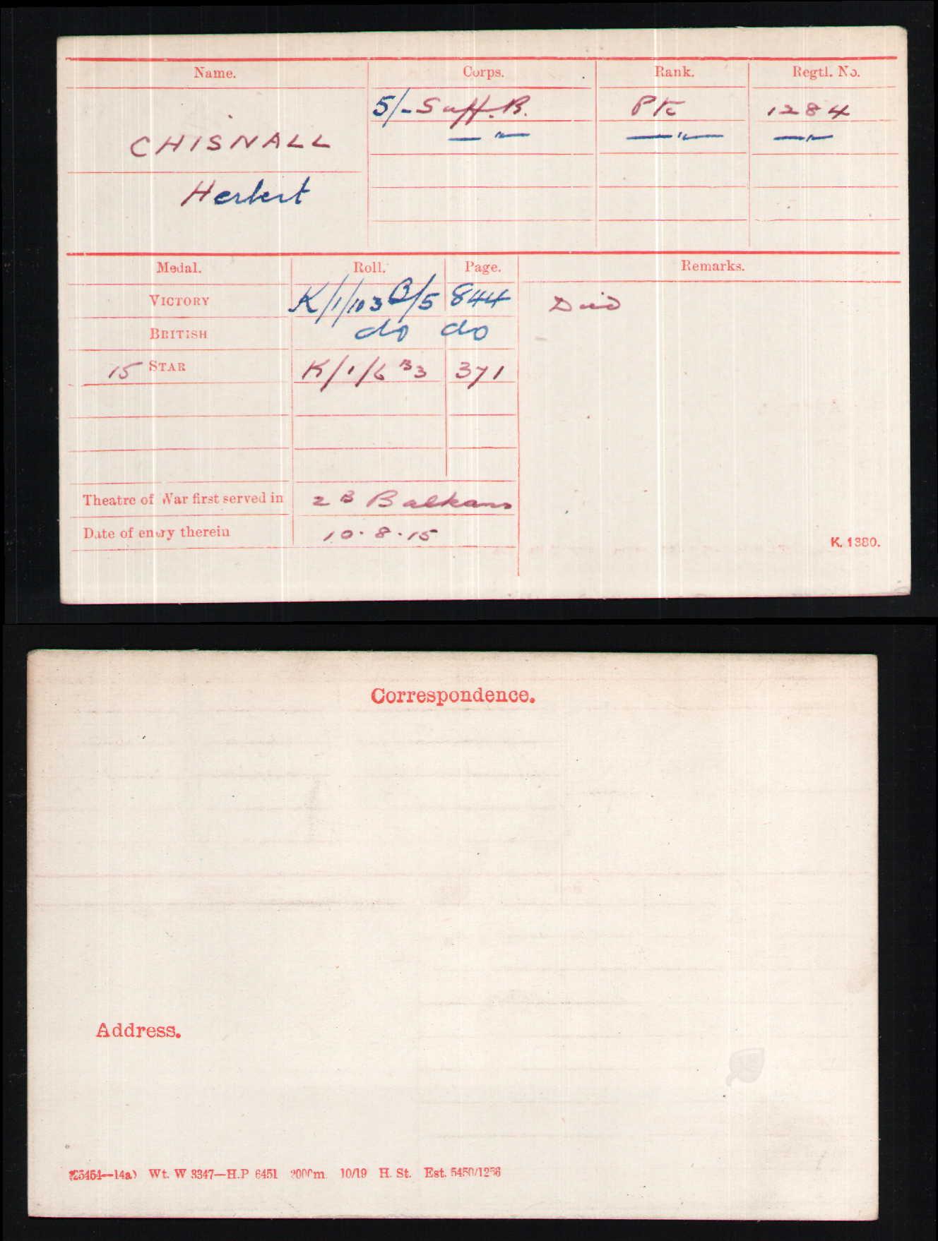 Herbert Chisnall medal card.jpg
