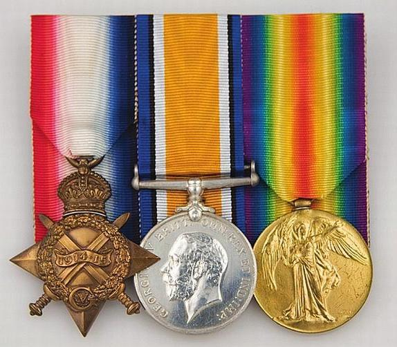 Private Grimwoodwas entitled to the above three medals; 1914 Star, British War Medal and the British Victory Medal. The whereabouts of Private Grimwood's actual medals is currently unknown.
