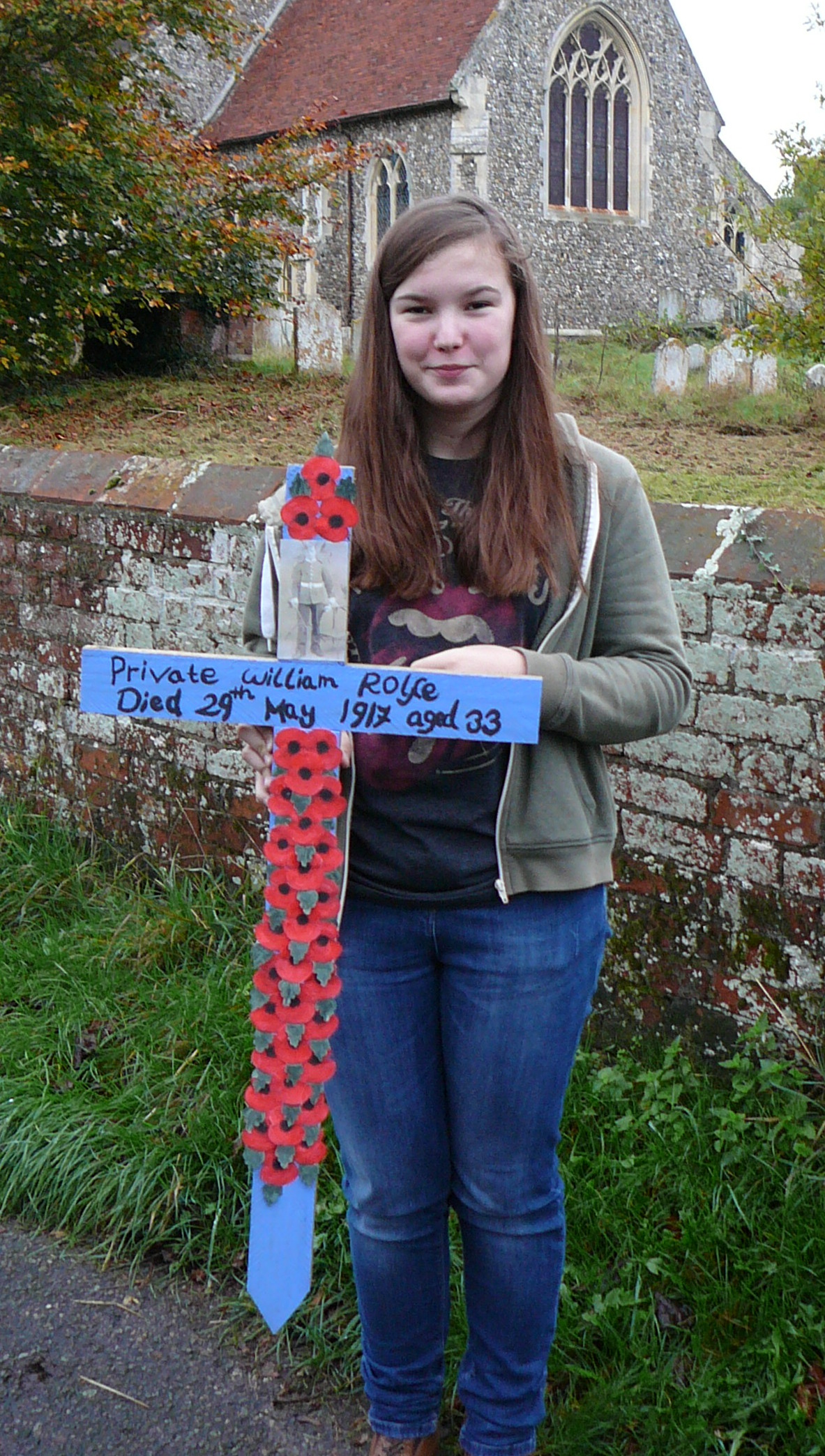 120 IMOGEN MORSMAN WITH THE CROSS IN MEMORY OF WILLIAM ROLFE.jpg