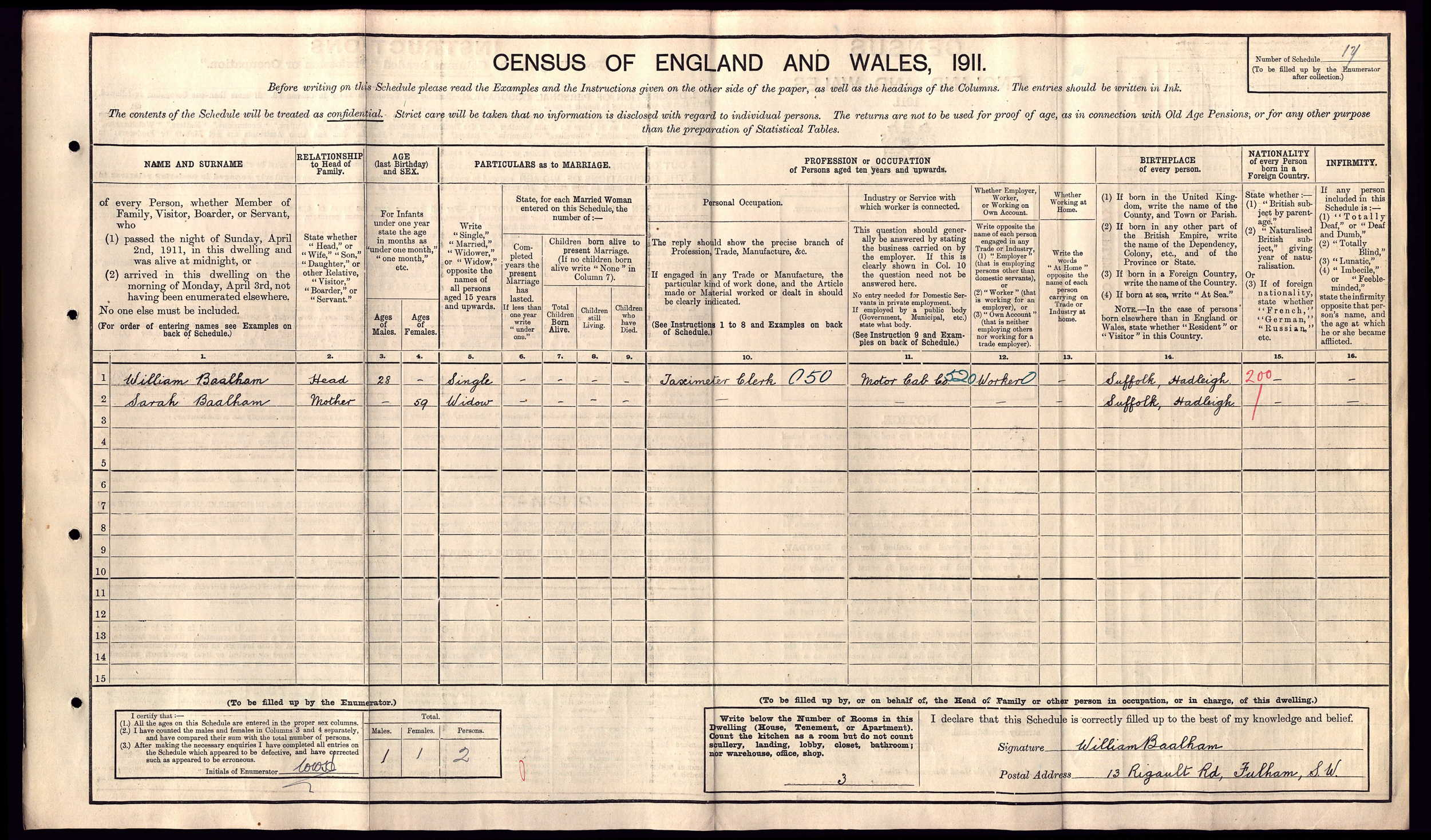 William Walter Baalham 1911 census.jpg