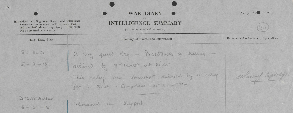 Entry from  4 KRRC War Diary for5 Mar 15