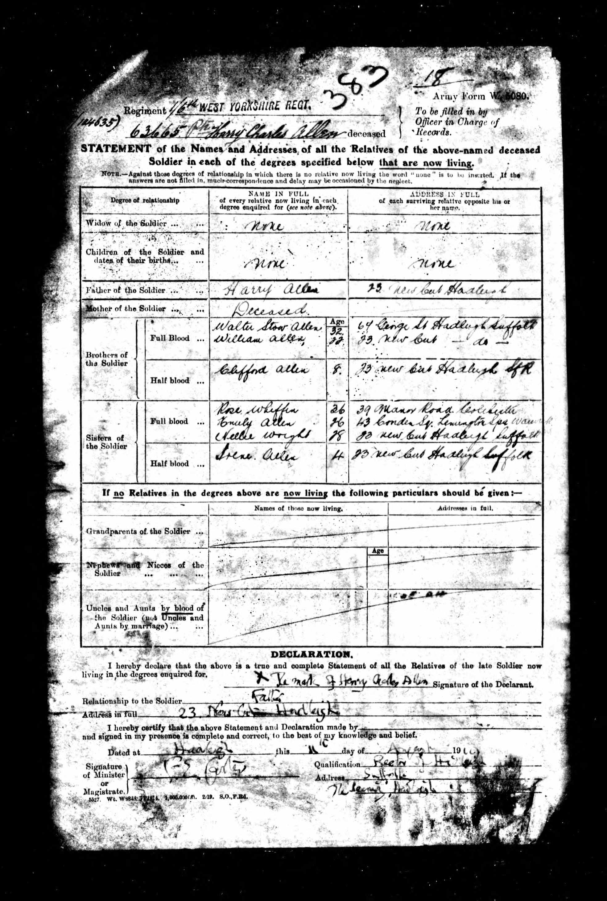 Harry Charles Allen relatives on death.jpg