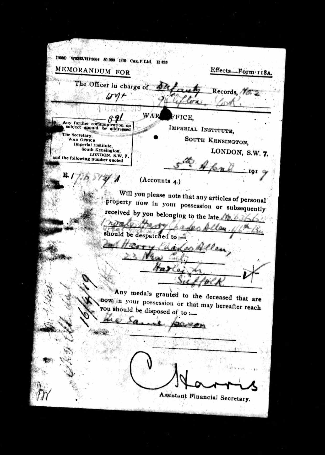 Harry Charles Allen memo with forwarding address.jpg
