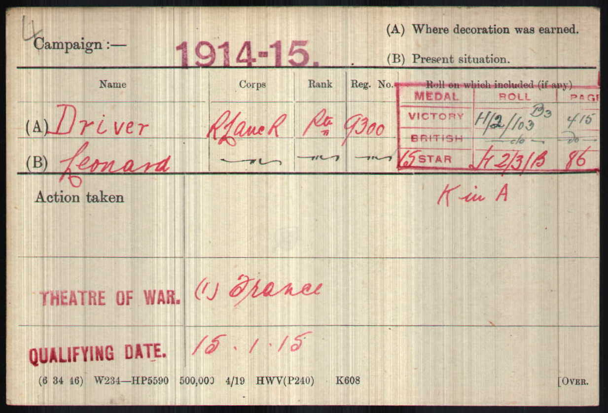 Leonard's medal card showing his date of entry into France