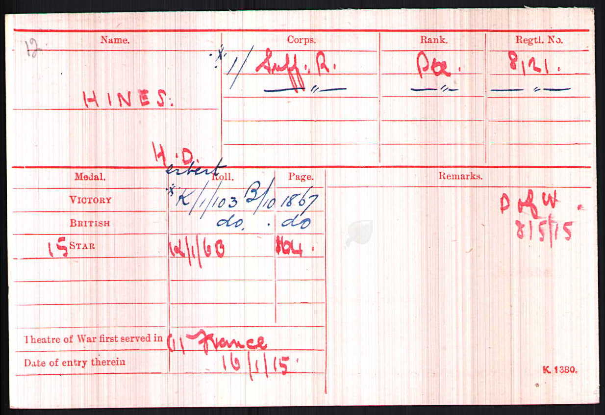 Herbert's medal card showing his date of entry into France