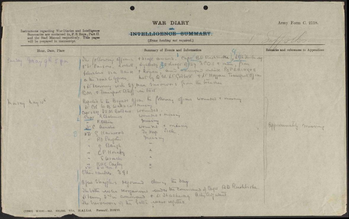 1 Suffolks war diary 9 May 15.jpg
